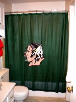 We weren't kidding...the man has a Fighting Sioux shower curtain.