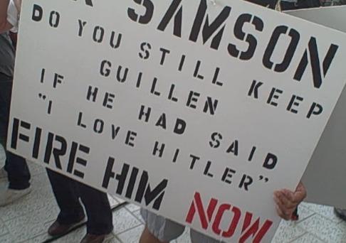 ozzie guillen protestor