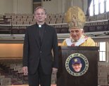notre dame president pope and holtz