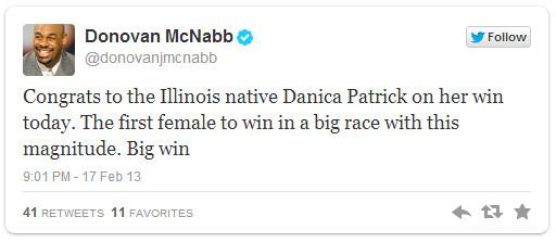 donvan mcnabb danica patrick tweet