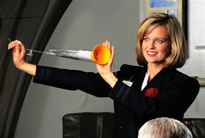 stewardess oxygen mask instructions