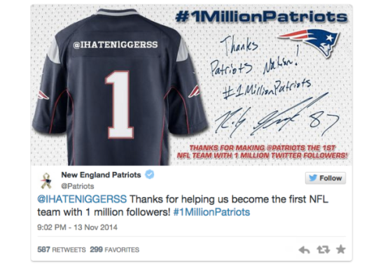 new england patriots racist tweet