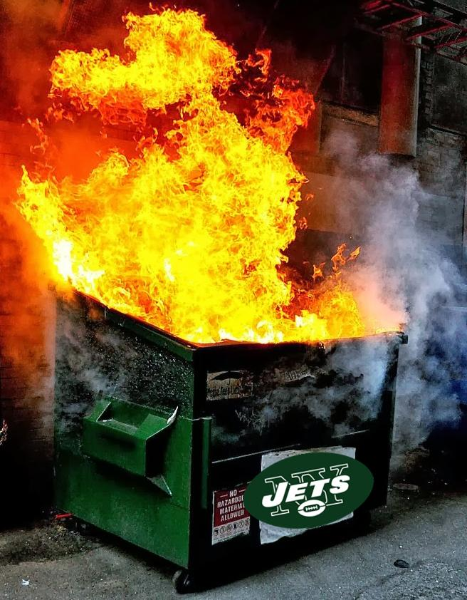 Image result for ny jets dumpster fire pics
