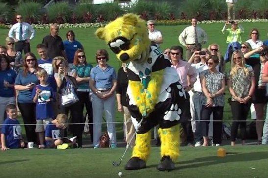 jacksonville jaguar mascot golfing