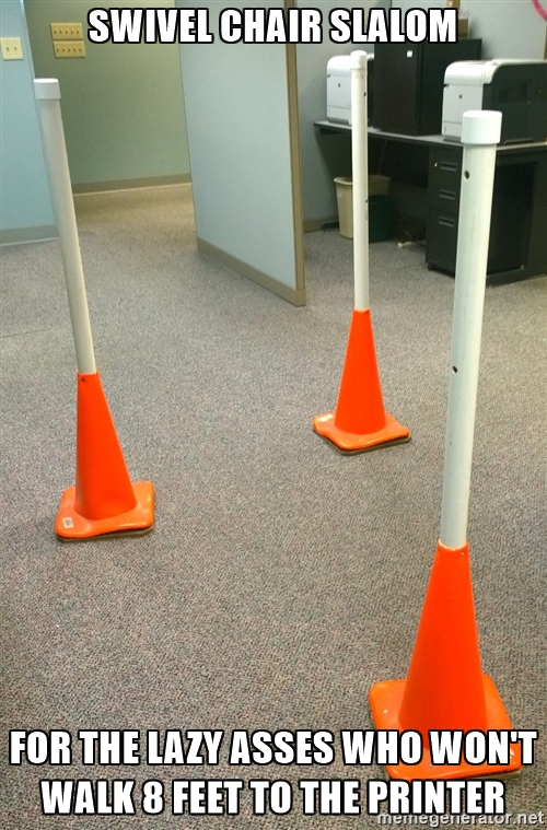 swivel chair slalom cones